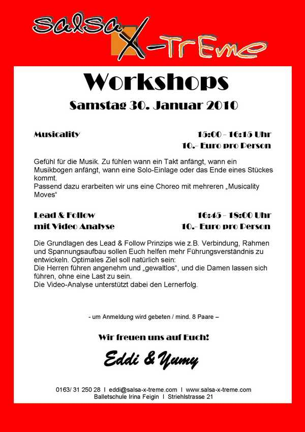 Salsaworkshops: Musicality - Lead & Follow mit Video Analyse